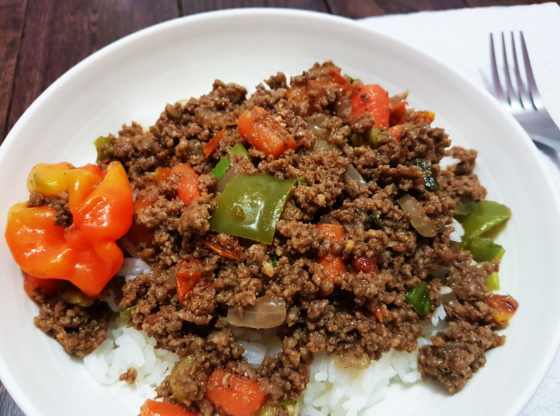 Spicy Ground beef with white rice