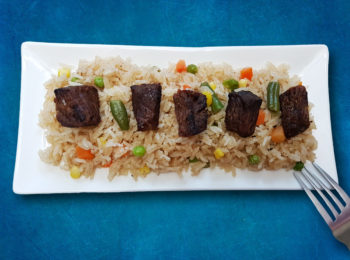riz blanc with oven grilled beef